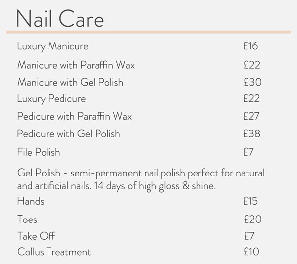 Eli's Hair and Beauty nail care price list